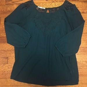 Maurice's crochet & embroidered dark teal blouse